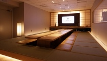 Modern meeting room meets traditional Japanese aesthetics.