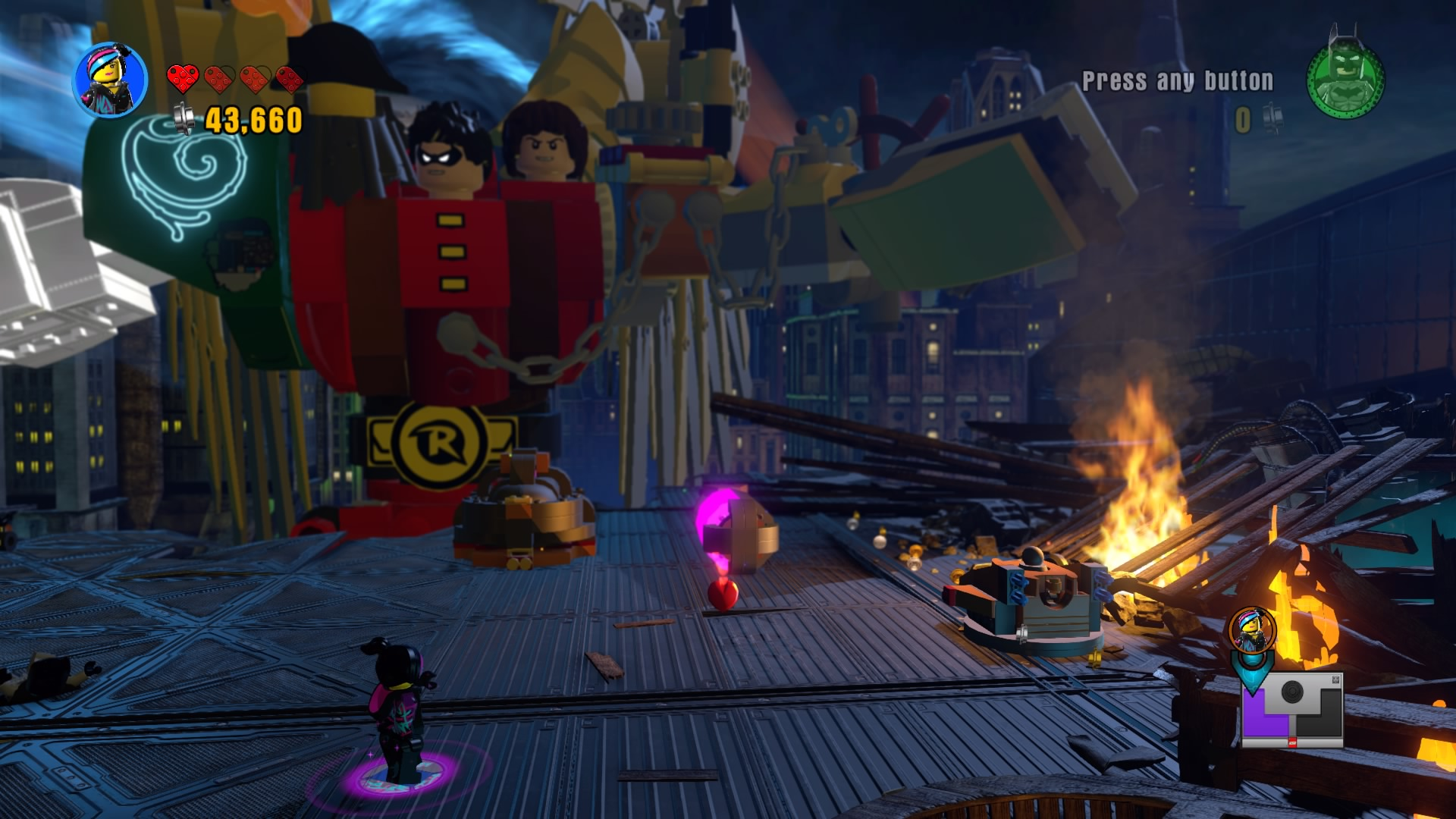 The worlds are colliding, and it's up to you to stop the Tri. Dodge his attacks until LEGO bricks fall from a rift. Break the glowing bricks and build ...