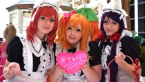 Nozomi, Maki, and Honoka from Love Live! from the cosplay group Oishii Waifus