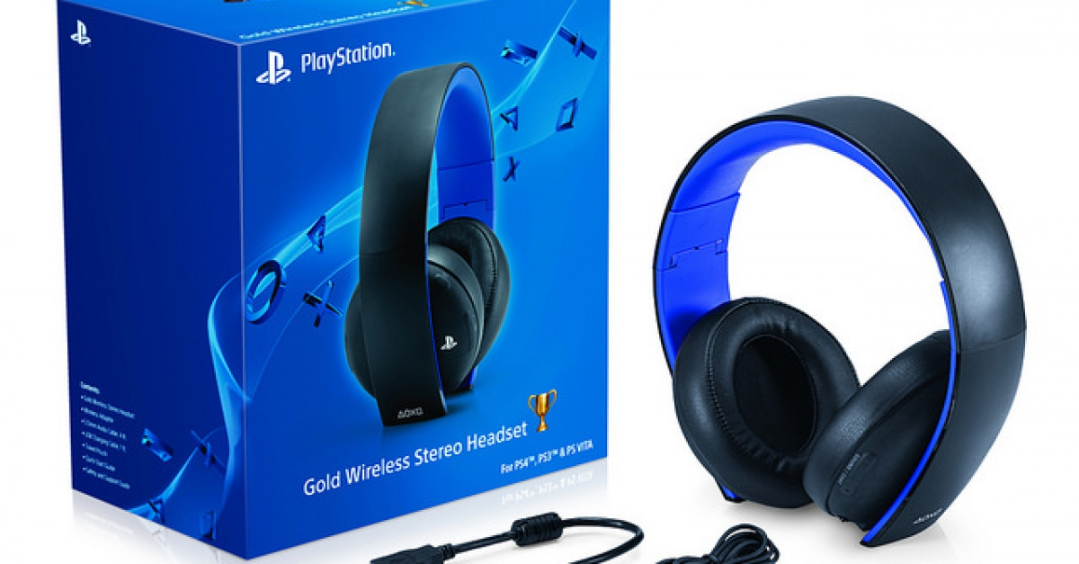 sony reveals gold wireless stereo headset for ps4 ps3. Black Bedroom Furniture Sets. Home Design Ideas