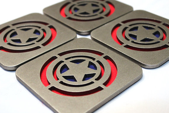Captain America coasters, by Apocalypse Fabrication on Etsy.