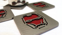 Iron Man coasters, by Apocalypse Fabrication on Etsy.