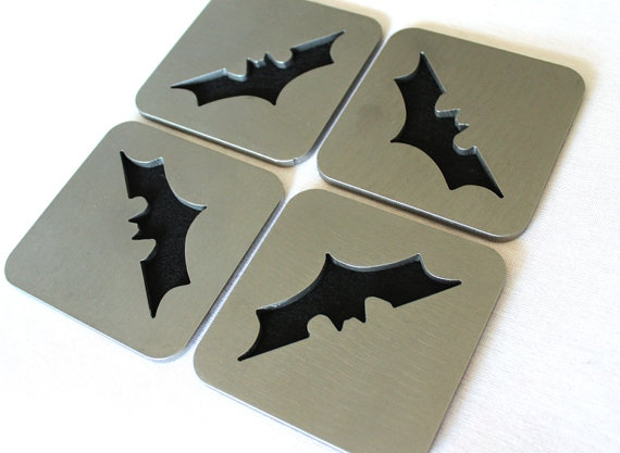 Modern Batman coasters, by Apocalypse Fabrication on Etsy.