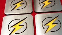 The Flash coasters, by Apocalypse Fabrication on Etsy.