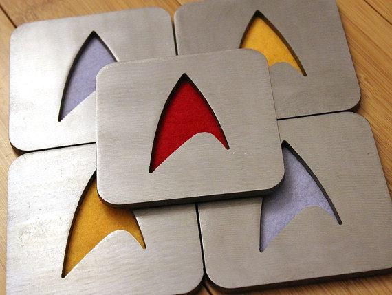 Star Trek coasters, by Apocalypse Fabrication on Etsy.