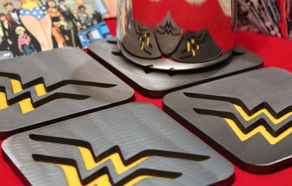 Wonder Woman coasters, by Apocalypse Fabrication on Etsy.