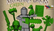 Green accessories from CrazyBrick's Munchkin Bricks Kickstarter.