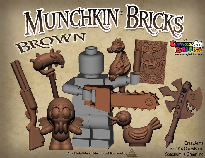 Brown accessories from CrazyBrick's Munchkin Bricks Kickstarter.