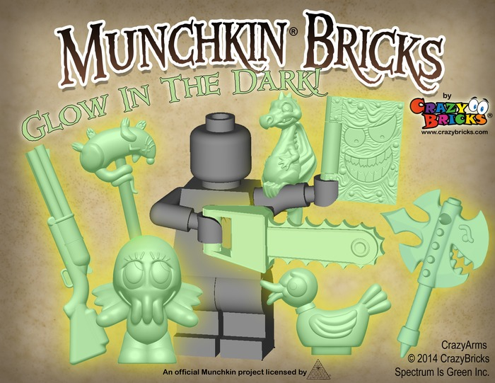 Glow in the Dark accessories from CrazyBrick's Munchkin Bricks Kickstarter.