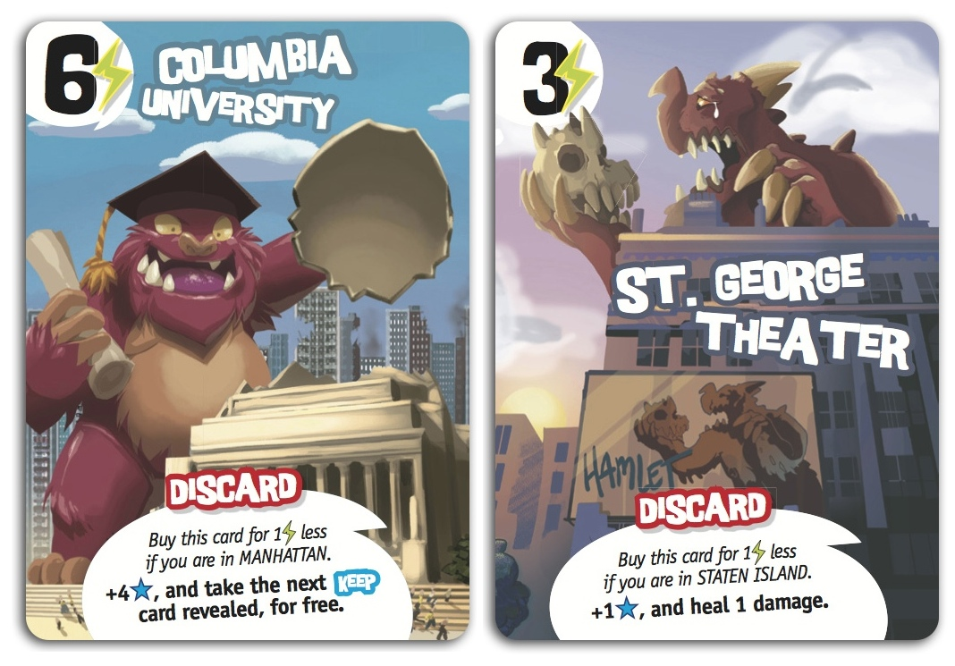 Sample power cards for King of New York, published by IELLO.
