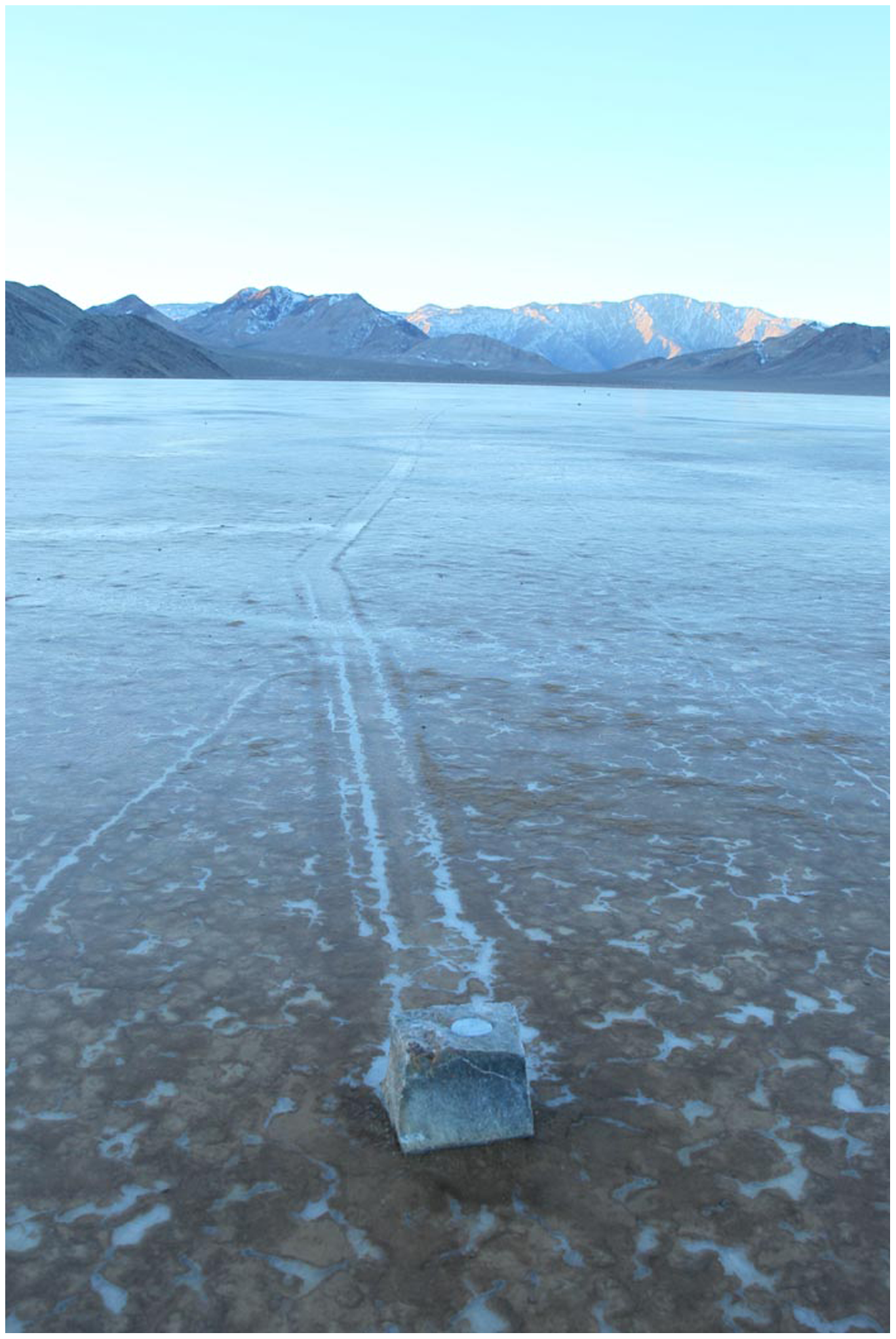 Rock trail of one GPS-equipped rock. Source: Figure 4, Sliding Rocks on Racetrack Playa, Death Valley National Park: First Observation of Rocks in Motion. Image by Mike Hartmann. doi:10.1371/journal.pone.0105948.g001