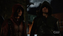 Stephen Amell as Arrow Colton Haynes as Arsenal. Photo Credit: The CW.
