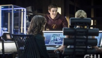 Grant Gustin as Barry Allen, Emily Bett Rickards as Felicity Smoak, and Danielle Panabaker as Dr. Caitlin Snow. Photo Credit: Cate Cameron/The CW