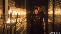 Katrina Law as Nyssa al Ghul and Stephen Amell as Oliver Queen.  Photo Credit: Cate Cameron/The CW