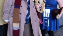 The Fourth Doctor and the TARDIS hope their little Dalek won't grow up to exterminate anything.