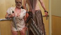 Pyramid Head and the Nurse look like they came straight out of Silent Hill 2 right down to the enormous height. More than a little disquieting.