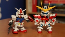 2015 SD EX-Standard alongside the 2014 Burning Gundam SD from Gundam Build Fighters.