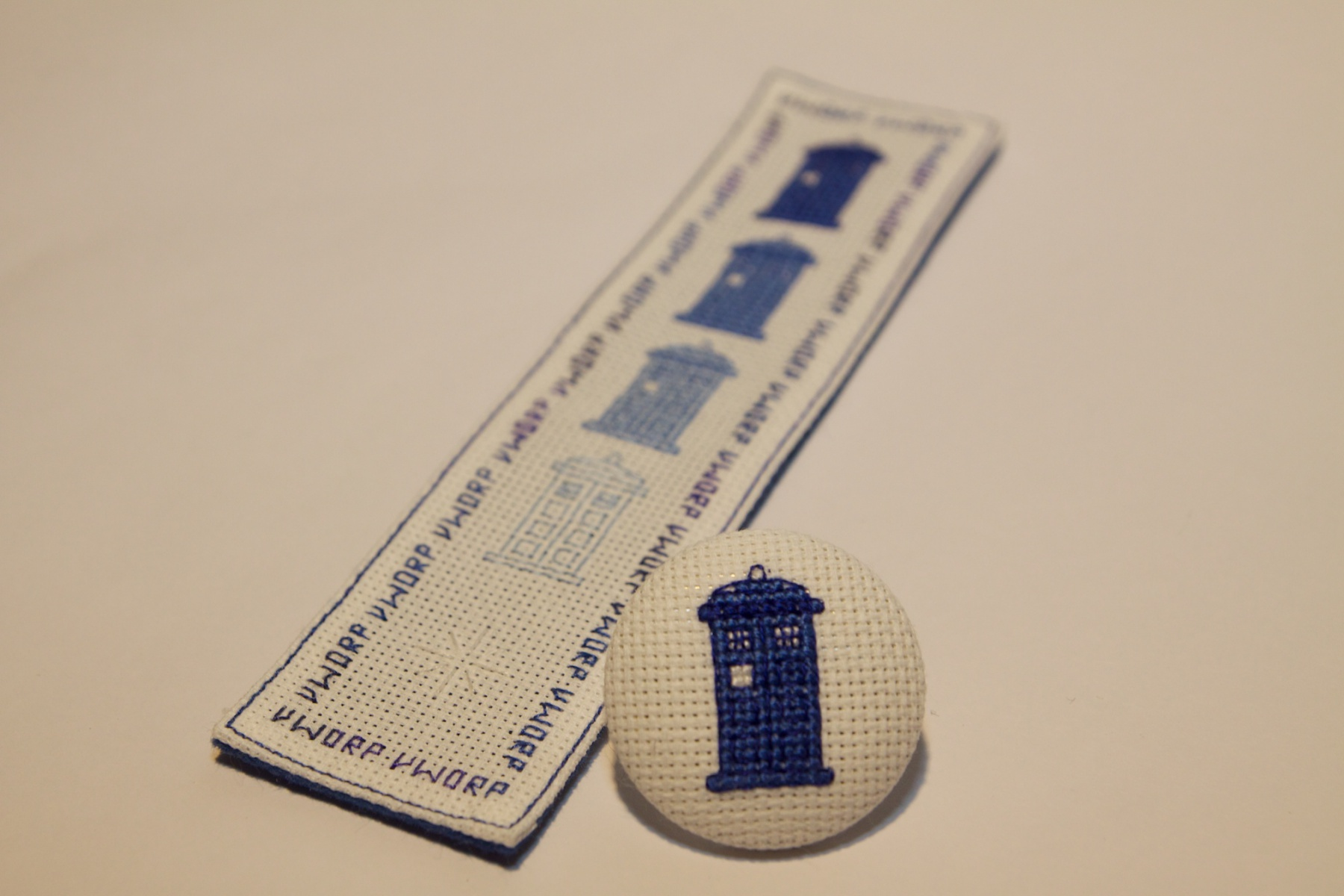 Doctor Who cross stitched bookmark and pin, from Sarah Overall.