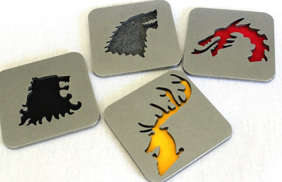 Game of Thrones coasters, by Apocalypse Fabrication on Etsy.
