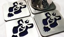 World of Warcraft Alliance insignia coasters, by Apocalypse Fabrication on Etsy.