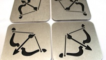 Hawkeye coasters, by Apocalypse Fabrication on Etsy.