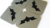 Modern Batman coasters, by Apocalypse Fabrication on Etsy.