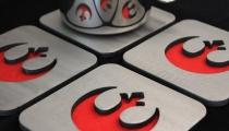 Rebel Alliance insignia coasters, by Apocalypse Fabrication on Etsy.