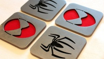 Spiderman coasters, by Apocalypse Fabrication on Etsy.