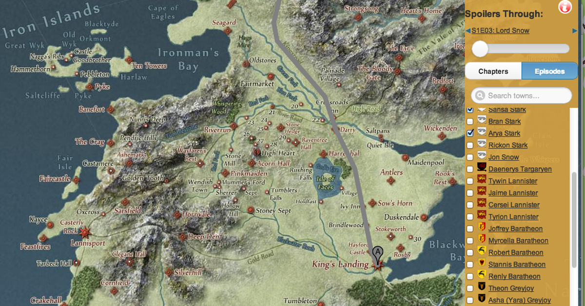 Track Game of Thrones Characters' Paths with this ... on the girl with the dragon tattoo character map, george r. r. martin, a song of ice and fire, south park character map, fire and blood, a feast for crows, breaking bad character map, the winds of winter, king of thrones map, king of thorns map, assassin's creed character map, winter is coming, once upon a time character map, tales of dunk and egg, a clash of kings, character counts map, lord snow, walking dead map, a golden crown, mad men character map, a dance with dragons, game of thrones - season 2, a storm of swords, true detective character map, a feast for crows character map, lego batman 2 character map, dothraki language, fire and ice book map, the prince of winterfell, house targaryen, house of cards character map, criminal minds character map, alfie owen-allen, gameof thrones map, game of thrones - season 1,