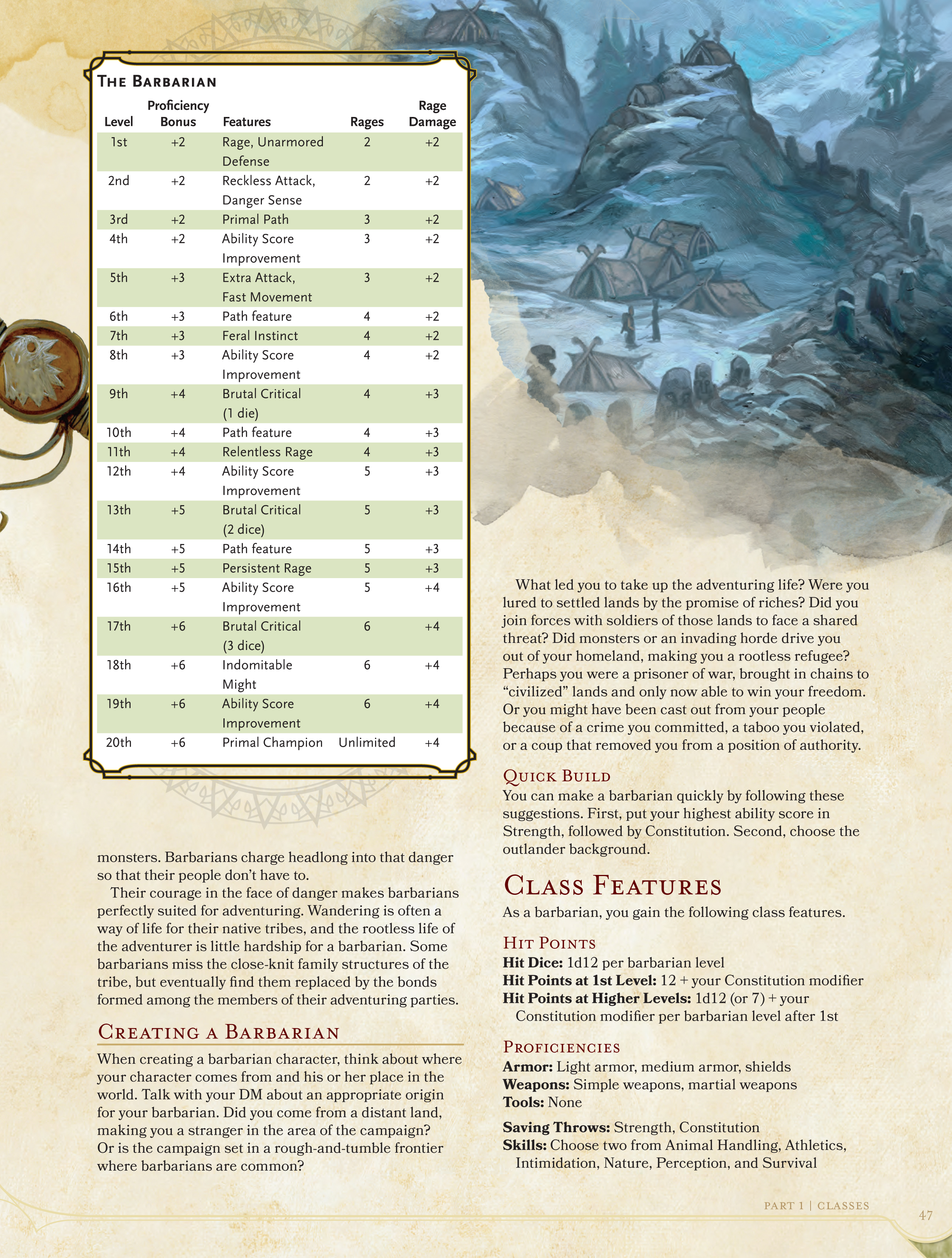 Here's the Classes and Specializations in the D&D Player's Handbook