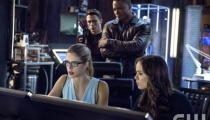 Emily Bett Rickards as Felicity Smoak, Colton Haynes as Roy Harper / Arsenal, David Ramsey as John Diggle, and Danielle Panabaker as Caitlin Snow. Photo Credit: Cate Cameron/The CW